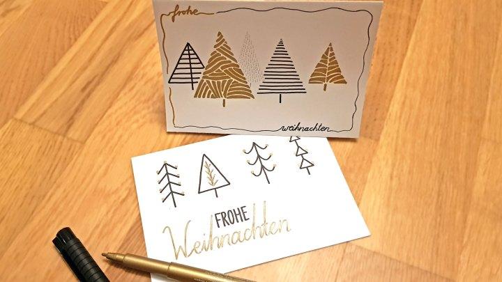 Handgemalte Weihnachtskarten