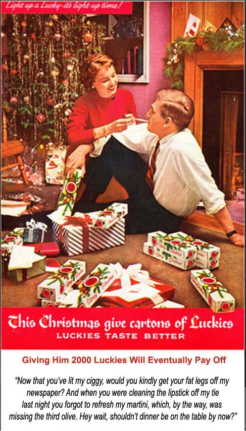 Revised Vintage Lucky Strike Christmas Ad 1950's ecigarette news