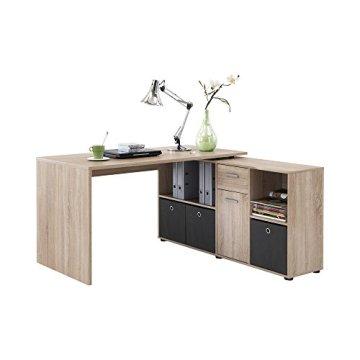 FMD Möbel 353-001 Winkelkombination LEX Tisch circa 136 x 75 x 68 cm, montiert Regal circa 137 x 71 x 33 cm, eiche -