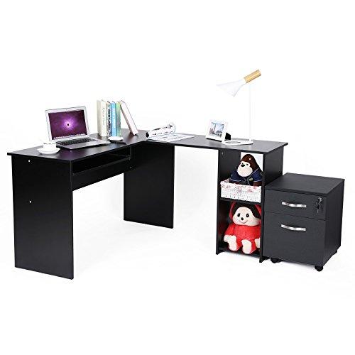 Songmics Computertisch Bürotisch Schreibtisch schwarz PC Tisch Computerschreibtisch Große Desktop Design 3 Regale 140 x 120 x 75 cm LCD810B -