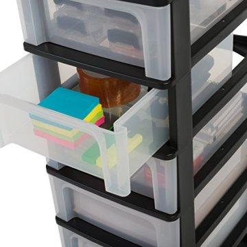 IRIS, Schubladenbox / Tischschubladenbox / Bürobox 'Organizer Chest', OCH-2021, Aufbewahrung für Schreibtisch, Kunststoff, schwarz / transparent, 35,5 x 26 x 29,5 cm -