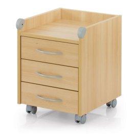 Kettler Rollcontainer aus Holz – Schreibtisch Rollcontainer mit 3 Schubladen – stabile Ausführung – geeignet für Büro und Kinderzimmer -