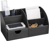 Pavo 8002498 Premium Multifunktionale PU Leder Schreibtisch Organizer, schwarz -