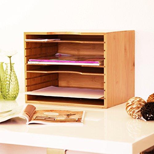 Relaxdays Briefablage aus Bambus HBT: ca. 26,5 x 33,5 x 24,5 cm Ablagesystem für den Schreibtisch Dokumentenablage mit 4 variablen Einlegeböden Papierablage aus Holz für Briefe und Unterlagen, natur -