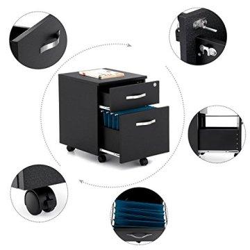 Songmics Abschließbar Rollcontainer Büroschrank mit 2 Schubladen 5 Kunststoffrollen unten schreibtisch Büromöbel schwarz 43,5 x 40 x 52,5 cm LCD25B -