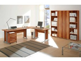 praktischer Eckschreibtisch, Büro komplett Set, Büromöbel Set günstig, Arbeitszimmer Möbel komplett, praktisches Arbeitszimmer günstig im Internet, Winkelschreibtisch und Regalwand billig bestellen