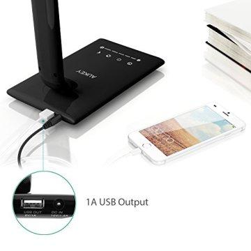 AUKEY Schreibtischlampe LED 12W, 5 Farbtemperaturen und 7 Helligkeitsstufen dimmbar Touch mit Nachtlicht, Auto Timer und USB Output 5V 1A, Schwarz (LT-T10) -