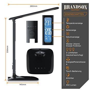 Brandson - dimmbare LED Schreibtischlampe | Augenschutz - 3 Lichtfarben (kalt/warm/neutralweiß) / 5 Helligkeitsstufen | Temperatur-, Alarm- und Kalenderfunktion | Touch-Bedienung (berührungsgesteuert) | schwarz -