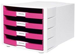 HAN Schreibtisch-Schubladenbox IMPULS / Stapelbare Sortierablage mit 4 großen Schubladen für DIN A4/C4 inkl. Beschriftungsschilder / 29,4 x 36,8 x 23,5 cm (BxTxH) / Pink/Weiß -