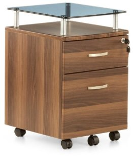 hjh OFFICE 673808 Rollcontainer EKON PLUS wallnuss, inkl. 2 Schübe, solide Verarbeitung, ideal für Schreibtische, Büro, Büromöbel, Schreibtisch Container, Büro Container, Rollkontainer mit Schubladen -