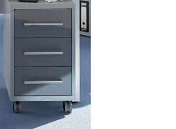 Komplettes Arbeitszimmer - Büromöbel Komplett Set Modell 2017 MAJA SET+ in Platingrau / Grauglas Rollcontainer kaufen, Rollcontainer Erfahrungen, bester Rollcontainer, Rollcontainer Holz, Metall Rollcontainer, rollcontainer büro, aktenschrank mit rollen, büroschrank beweglich, büroeinrichtung mit Schubladen, schreibtischcontainer