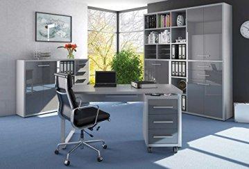 Komplettes Arbeitszimmer - Büromöbel Komplett Set Modell 2018 MAJA SET - büroschrank online kaufen, Schreibtisch mit Rollcontainer, Sidebar für Dokumenten, Orderregal, Bücherregal, Komplettset, möbel arbeitszimmer, Möbel online kaufen, arbeitszimmer einrichten, graue Möbel