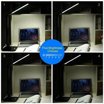 Ledgle 14W LED Schreibtischlampe ,dimmbar,Touch-Control mit 4 Beleuchtungsmodi, 5 Helligkeitsstufen, 270° flexibler drehbarer Lampekopf, 1-Stunde-Auto-off Timer, 5V / 1.5 A USB-Anschluss, Klavier Schwarz -