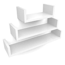 Songmics Regal 3er Set Wandregal, MDF Holz, Tiefe 15 cm, 60/45/30 cm, weiß U-Form Wandboard LWS66W -