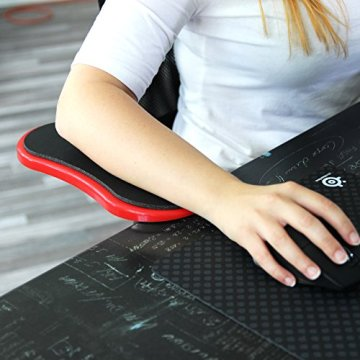 Urcover® Ergonomische Schreib-Tisch Arm-Auflage [ 180 Grad drehbar ] für eine optimale Entlastung von Schulter-, Nacken-, Arm- & Rücken-Muskulatur | Rot | Computer Armlehne flexibel einstellbare Armauflage Komfort Handgelenk-Stütze Gelenk-Stütze Schreibtisch-Aufsatz Befestigung: Schraub-Klemme -