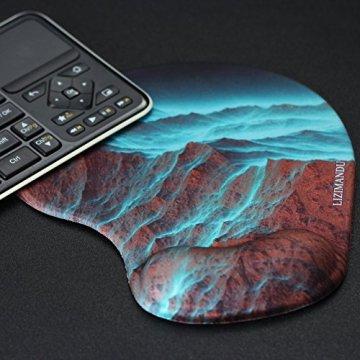 Handgelenkauflage Mouse pad ,Lizimandu rutschfeste Gummi-Unterseite gleichmäßige Maussteuerung ergonomisches Komfort Mauspad mit Handauflage(Rock Mountain/Rock Mountai) - 5