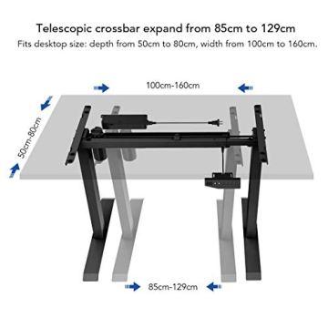 Flexispot E1B Höhenverstellbarer Schreibtisch Elektrisch höhenverstellbares Tischgestell 2-Fach-Teleskop, mit Memory-Steuerung (Schwarz) - 2