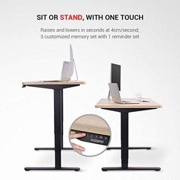 Flexispot Höhenverstellbarer Spieltisch Elektrisch höhenverstellbares Tischgestell, 3-Fach-Teleskop, passt für alle gängigen Tischplatten. Mit Memory-Steuerung und Softstart/-Stop - 4