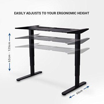 Flexispot Höhenverstellbarer Spieltisch Elektrisch höhenverstellbares Tischgestell, 3-Fach-Teleskop, passt für alle gängigen Tischplatten. Mit Memory-Steuerung und Softstart/-Stop - 5