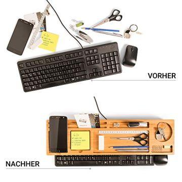 PIETVOSS Schreibtisch Tastatur Organizer aus Bambus Holz, Aufsatz Regal für optimale Organisation. iPhone Halter, Fächer Ablage für Stifte, Büro Zubehör, Gadgets, Maus gegen Unordnung - 4