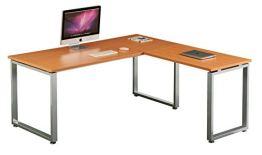 hjh OFFICE 674050 Eckschreibtisch WORKSPACE XL Buche/Silber Schreibtisch mit großer Arbeitsfläche 180 x 180 cm - 1