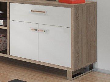 möbelando Winkelschreibtisch Schreibtisch Büroschreibtisch Eckschreibtisch Margate I Sonoma-Eiche/Weiß - 2