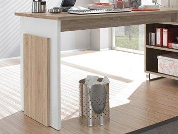 möbelando Winkelschreibtisch Schreibtisch Büroschreibtisch Eckschreibtisch Margate I Sonoma-Eiche/Weiß - 4