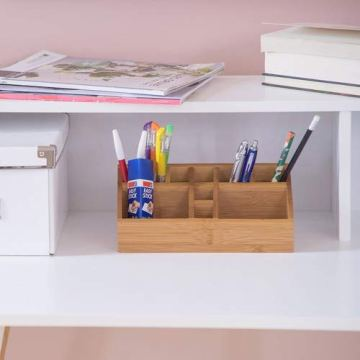 Relaxdays Schreibtischorganizer Bambus, Stifteköcher, 10 Fächer, natürliche Maserung, HxBxT: 10 x 23 x 10 cm, natur - 2