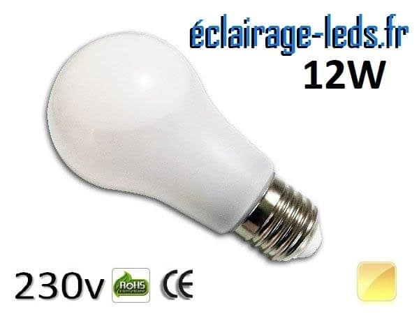 Ampoule led E27 liquide 12w SMD blanc chaud 3000K 230v AC
