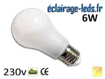 Ampoule led E27 liquide 6w SMD blanc chaud 3000K 230v AC ref f004-2