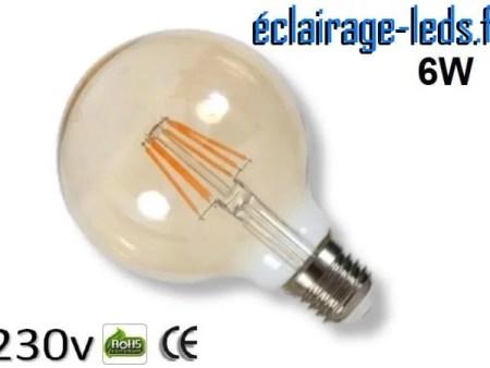 Ampoule led E27 vintage globe 6w 230v