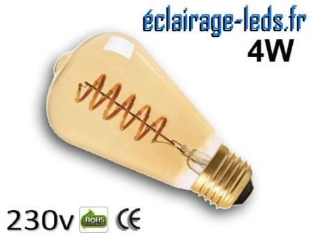 Ampoule led E27 vintage 4w COB Filament blanc chaud 2300K 230v AC ref e279-1