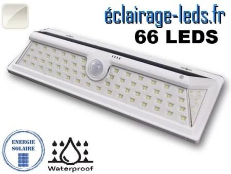 Applique solaire 66 leds design blanc