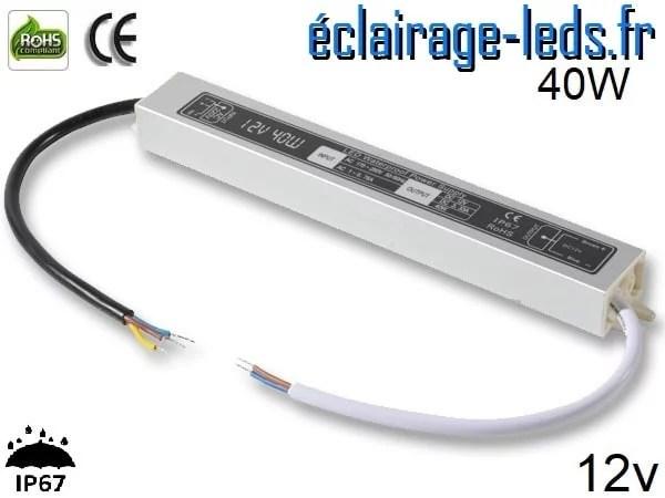 transformateur led 12v dc 40 watts ip67