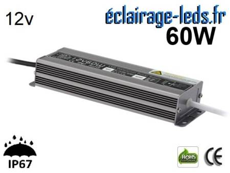 transformateur led 12v dc 60 watts ip67