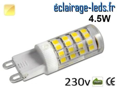 Ampoule LED G9 4.5w smd 2835 blanc chaud 230v