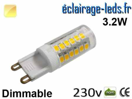 Ampoule LED G9 dimmable 3.2w smd 2835 blanc chaud 230v