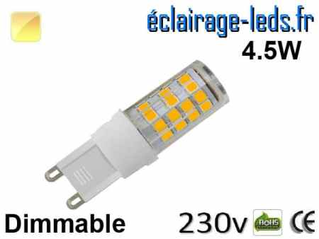 Ampoule LED G9 dimmable 4.5w smd 2835 blanc chaud 230v