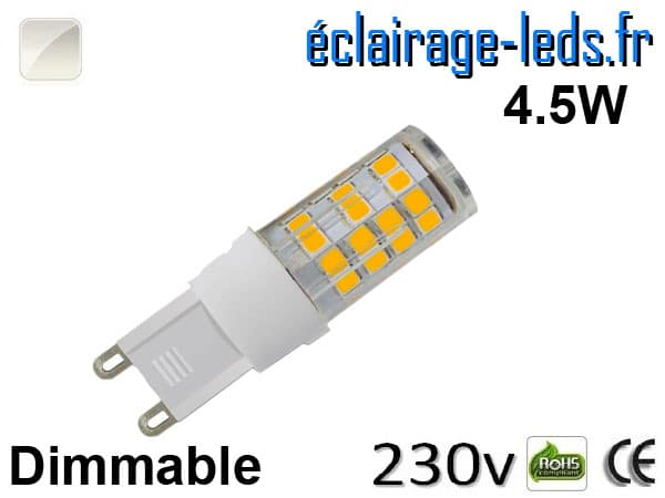 Ampoule LED G9 dimmable 4.5w smd 2835 blanc naturel 230v
