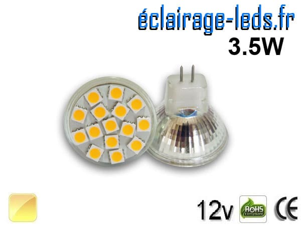 Ampoule led MR11 15 led SMD 5050 blanc chaud 12v