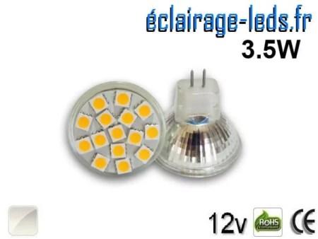 Ampoule led MR11 15 led SMD 5050 blanc naturel 12v