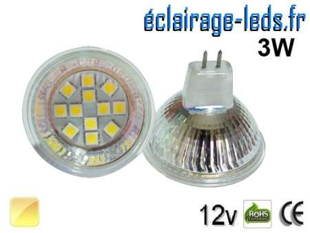 Ampoule LED MR16 12 led smd 5050 blanc chaud 12v 60°