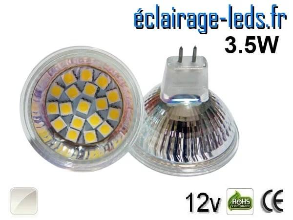 Ampoule LED MR16 18 led smd 5050 blanc naturel 12v 60°