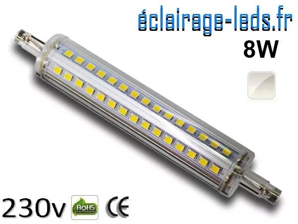Ampoule LED R7S slim 8w smd 2835 118mm blanc naturel 230v
