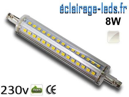 Ampoule LED R7S slim 8w smd 2835 118mm blanc naturel 230v