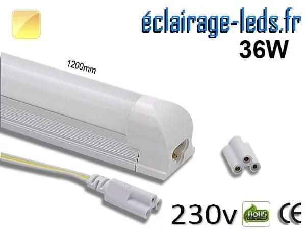 Tube LED T8 120cm 36w blanc chaud 230v AC | Eclairage-leds.fr
