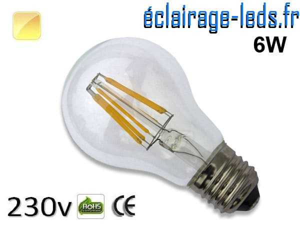Ampoule LED E27 filament 6w blanc chaud 230v