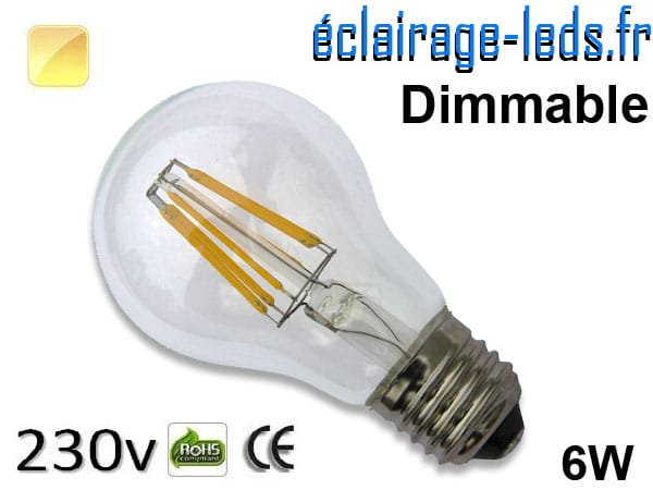 Ampoule LED E27 filament 6w dimmable blanc chaud 230v