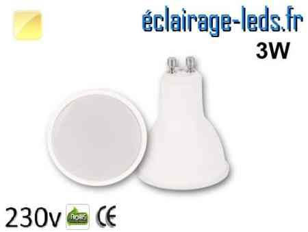 Ampoule LED GU10 translucide 3w blanc chaud 230v