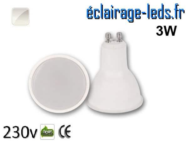 Ampoule LED GU10 translucide 3w blanc naturel 230v